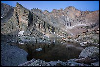 Longs Peak above Chasm Lake at dawn. Rocky Mountain National Park ( color)