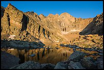 Chasm Lake with Longs Peak, Mt Meeker, and Mount Lady Washington at sunrise. Rocky Mountain National Park ( color)