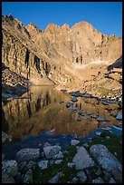 Longs Peak Diamond rises above Longs Peak at sunrise. Rocky Mountain National Park, Colorado, USA. (color)