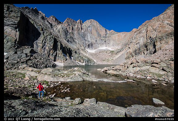Park visitor Looking, Chasm Lake. Rocky Mountain National Park (color)