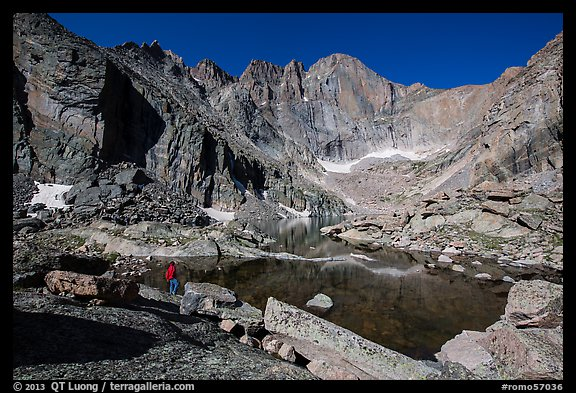 Park visitor Looking, Chasm Lake and Longs Peak. Rocky Mountain National Park (color)