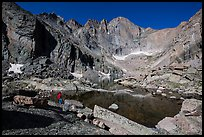 Park visitor Looking, Chasm Lake and Longs Peak. Rocky Mountain National Park ( color)