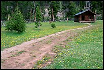 Path and historic cabin at Never Summer Ranch. Rocky Mountain National Park, Colorado, USA. (color)