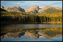 Otis Peak, Hallet Peak, and Flattop Mountain reflected in Sprague Lake. Rocky Mountain National Park ( color)