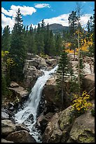 Alberta Falls and mountains. Rocky Mountain National Park ( color)