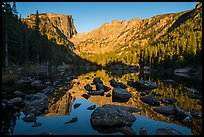 Hallet Peak and Flattop Mountain reflected in Dream Lake. Rocky Mountain National Park ( color)