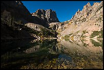 Granite walls climb straight out of Emerald Lake. Rocky Mountain National Park ( color)
