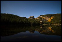 Hallet Peak reflected in Bear Lake at night. Rocky Mountain National Park ( color)
