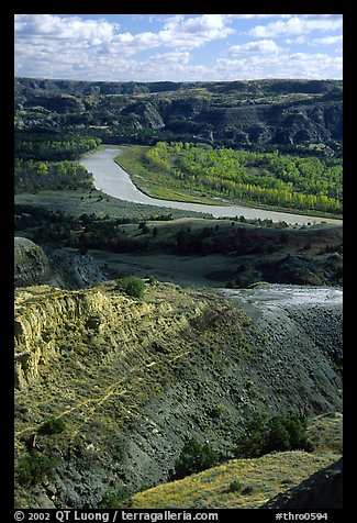 Little Missouri river and badlands at River bend. Theodore Roosevelt National Park, North Dakota, USA.