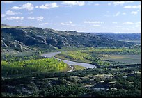 Little Missouri river at Oxbow overlook. Theodore Roosevelt National Park, North Dakota, USA.