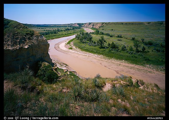 Bend of the Little Missouri River, Wind Canyon. Theodore Roosevelt  National Park (color)