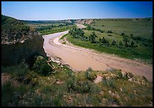 Bend of the Little Missouri River, and Wind Canyon. Theodore Roosevelt National Park, North Dakota, USA. (color)