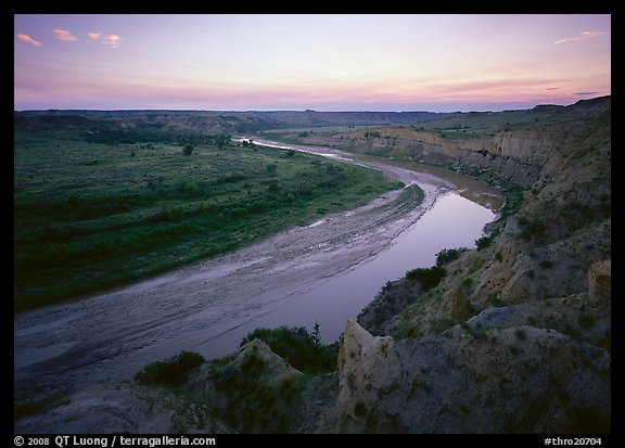 Little Missouri River bend at sunset. Theodore Roosevelt  National Park (color)