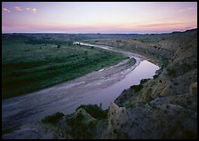 Bend of the Little Missouri River, dusk. Theodore Roosevelt National Park ( color)