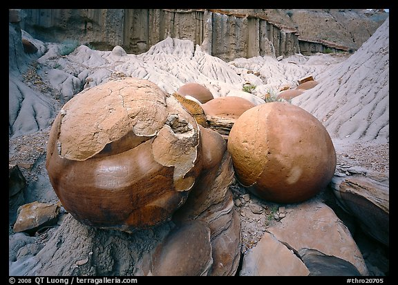 Large cannon ball concretions and badlands. Theodore Roosevelt National Park (color)