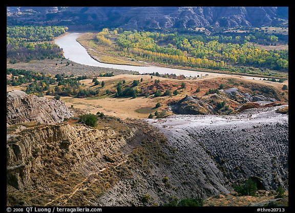 Little Missouri river and badlands at River bend in autumn. Theodore Roosevelt National Park (color)