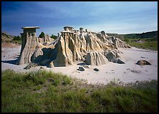 Mushroom pedestal formations, South Unit. Theodore Roosevelt National Park, North Dakota, USA.