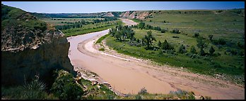 Riverbend and bluff. Theodore Roosevelt National Park (Panoramic color)