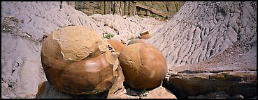 Large spherical concretions in badlands. Theodore Roosevelt National Park, North Dakota, USA.