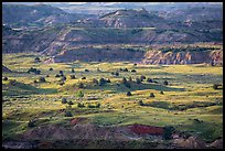 Late afternoon light, Painted Canyon. Theodore Roosevelt National Park, North Dakota, USA. (color)