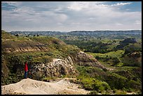 Park visitor looking, North Dakota Badlands Overlook. Theodore Roosevelt National Park ( color)