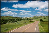 Scenic loop road, South Unit. Theodore Roosevelt National Park, North Dakota, USA. (color)