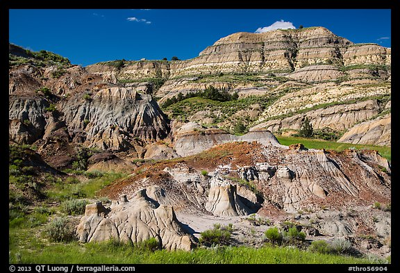 Multicolored layered badlands landscape, North Unit. Theodore Roosevelt National Park (color)
