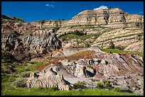 Multicolored layered badlands landscape, North Unit. Theodore Roosevelt National Park ( color)
