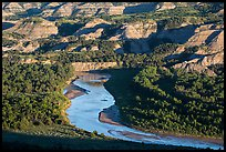 Little Missouri river bend and badlands in summer. Theodore Roosevelt National Park, North Dakota, USA. (color)