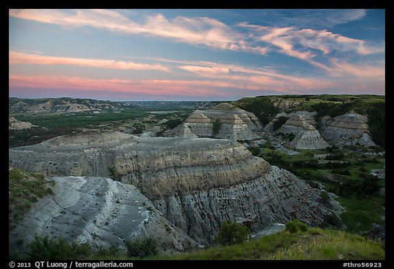 Badlands at sunset, North Unit. Theodore Roosevelt National Park (color)