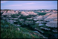 Badlands at dusk. Theodore Roosevelt National Park, North Dakota, USA. (color)