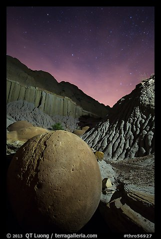 Cannonball and badlands at night. Theodore Roosevelt National Park (color)