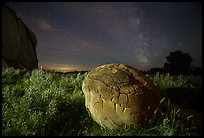 Cannonball, grasses and Milky Way. Theodore Roosevelt National Park ( color)