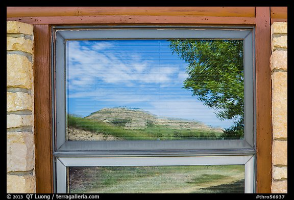 North Unit Visitor Center window reflexion. Theodore Roosevelt National Park (color)