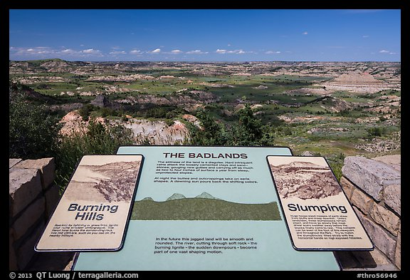 Interpretive sign, Painted Canyon. Theodore Roosevelt National Park (color)