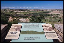 Painted Canyon interpretative sign. Theodore Roosevelt National Park, North Dakota, USA. (color)