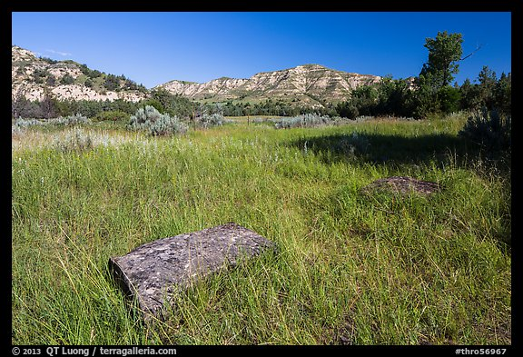 Roosevelt Elkhorn Ranch site with foundation stone. Theodore Roosevelt National Park (color)