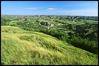 Prairie and badlands from Buck Hill, early morning. Theodore Roosevelt National Park, North Dakota, USA. (color)