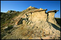 Erosion formations with caprocks, South Unit. Theodore Roosevelt National Park, North Dakota, USA.
