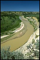 Bend of the Little Missouri River, mid-day. Theodore Roosevelt National Park, North Dakota, USA. (color)
