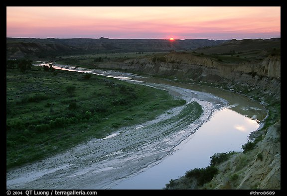 Little Missouri River, sunset. Theodore Roosevelt National Park (color)
