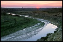 Little Missouri River, sunset. Theodore Roosevelt National Park, North Dakota, USA.