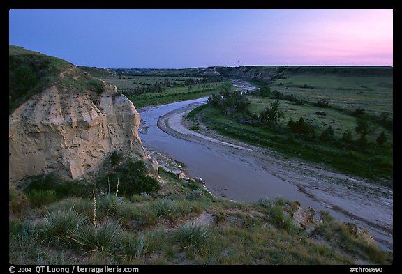 Wind Canyon and Little Missouri River, dusk. Theodore Roosevelt National Park (color)