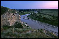 Wind Canyon and Little Missouri River, dusk. Theodore Roosevelt National Park, North Dakota, USA.