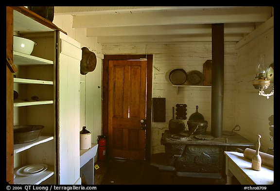 Kitchen of Roosevelt's Maltese Cross Cabin. Theodore Roosevelt National Park (color)