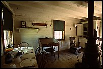 Dining room of Theodore Roosevelt's Maltese Cross Cabin. Theodore Roosevelt National Park, North Dakota, USA.