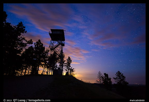 Lookout tower at dusk, Rankin Ridge. Wind Cave National Park (color)