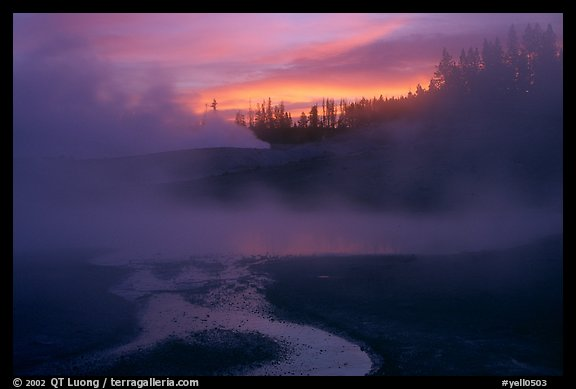 Norris geyser basin at sunrise. Yellowstone National Park (color)