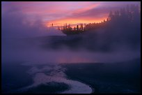 Norris geyser basin at sunrise. Yellowstone National Park, Wyoming, USA.