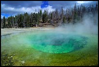 Steam out of Beauty pool in Upper geyser basin. Yellowstone National Park, Wyoming, USA.
